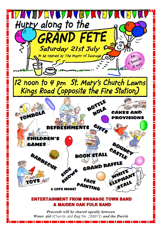 Swanage Parish Fete: Saturday 21st July, 12 noon to 4 00pm | Swanage