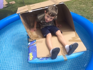 Will decided to try his creation out, and, yes, it floats!